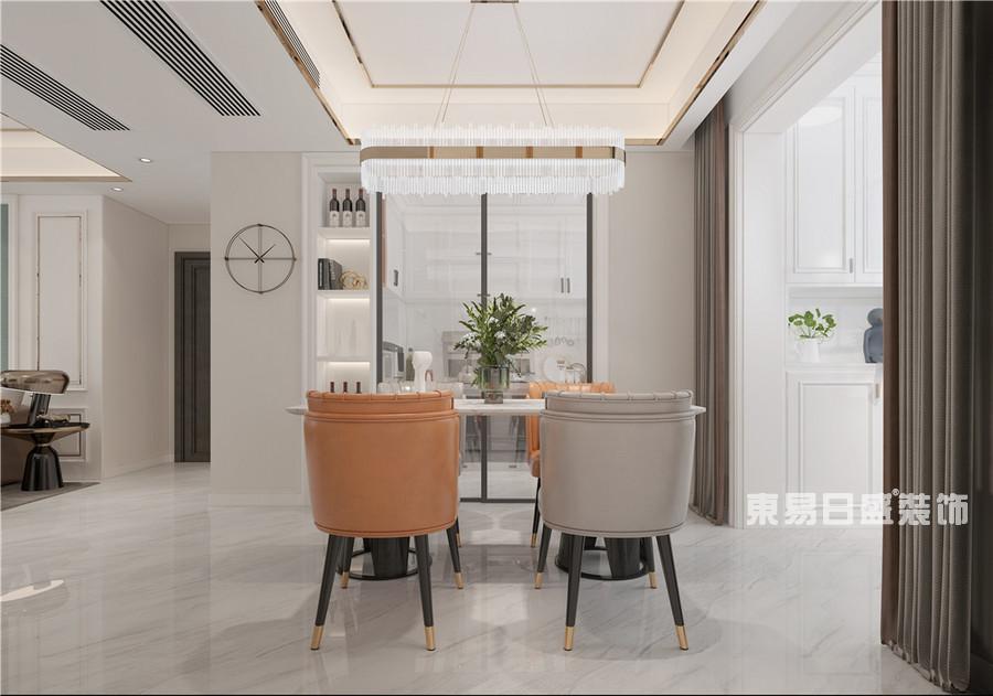 建业十八城-114平米-美式轻奢-餐厅-装修效果图